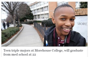 teen triple majors at Morehouse